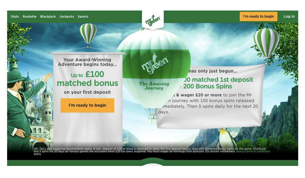 The Mr Green Casino website