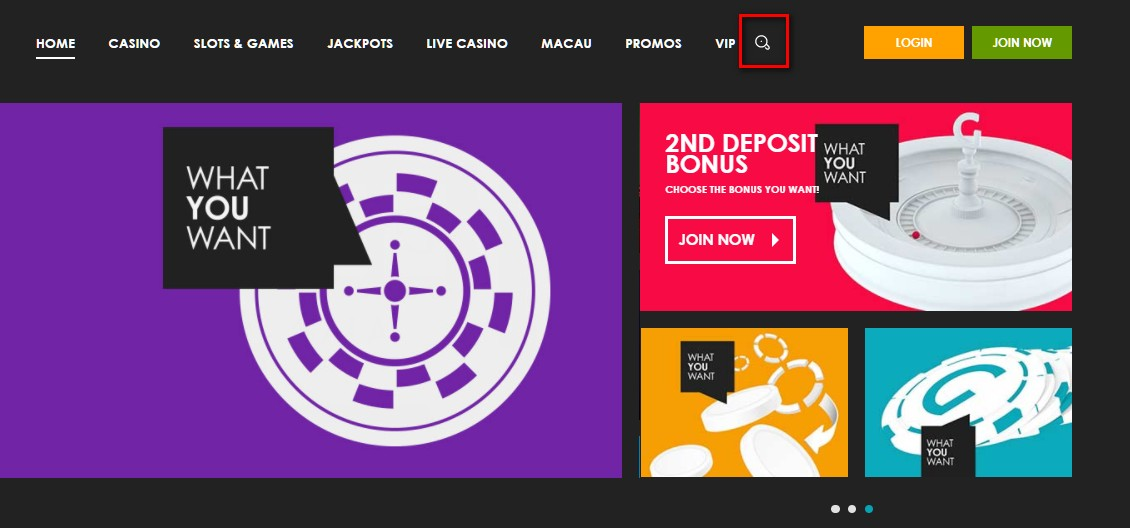 "Mistakes in the design of the ""Search"" section on the online casino site"