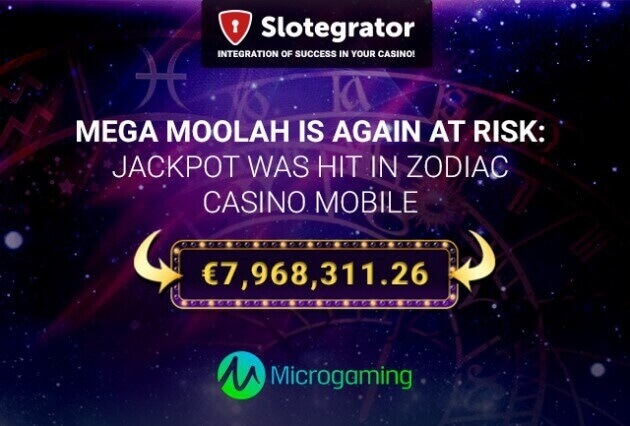 Mega Moolahis again at risk: €7,968,311.26 jackpot was hit in Zodiac Casino Mobile