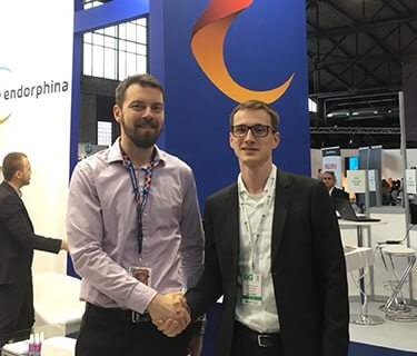 Yan Urbanec (Endorphina) and Vadim Potapenko (Slotegrator) at EIG 2017, Berlin