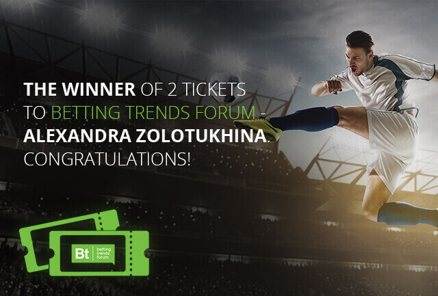 The winner of two free tickets to Betting Trends Forum FINALLY announced