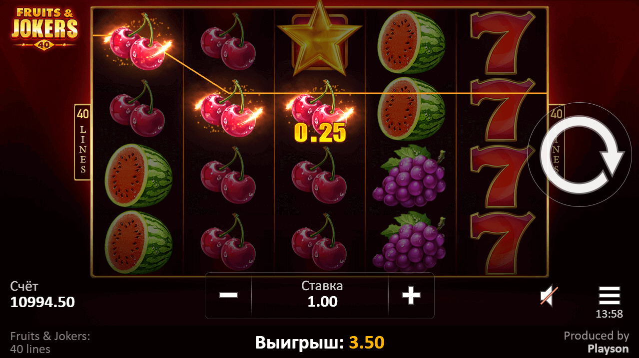 Fruits & Jokers: 40 lines от Playson - Slotegrator